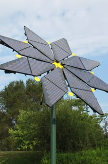 One case that solar panel not to be boring aesthetically. Could be a start of something artsy but yet essential. Solar Flower in Longwood Gardens.