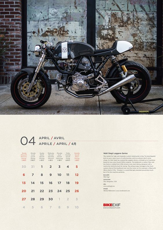 One of the highlights of the 2014 Bike EXIF motorcycle calendar is Walt Siegl's 'Leggero' series, a limited run of machines based on two-valve Ducati 900cc engines. The bodywork is carbon fiber and the frame is crafted from 4130 chrome moly steel tubing, designed with a nod to the Verlicchis built for racing. To put this (and 12 other amazing machines) on your wall, order your calendar from