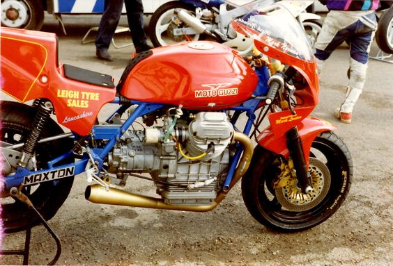 One-off frame Blomley Moto Guzzi BOTT race bike with Raceco US two-into-one exhaust very loud, I know as it was on my V7 Sport race bike for a while before being returned to current owner.