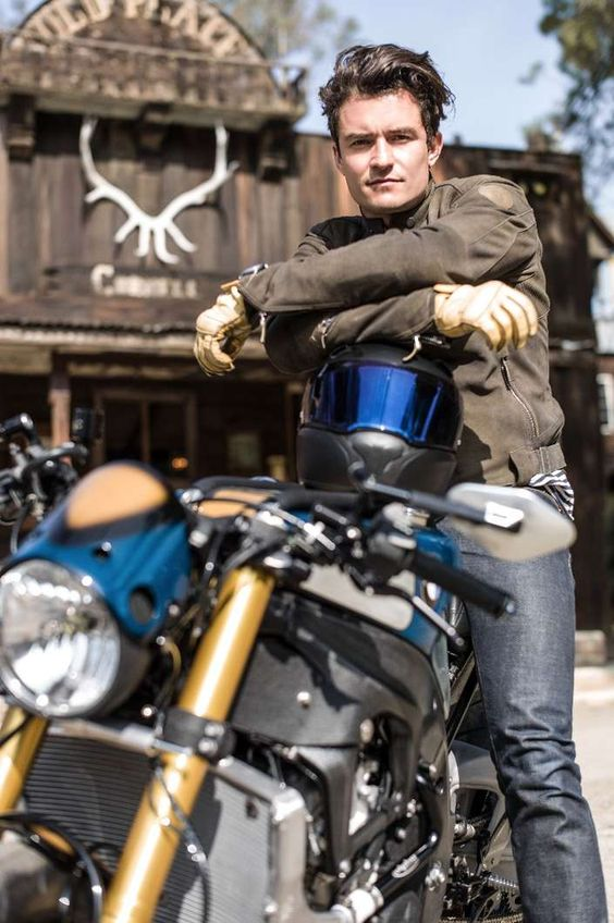Orlando Bloom shows off retro-custom BMW S1000R