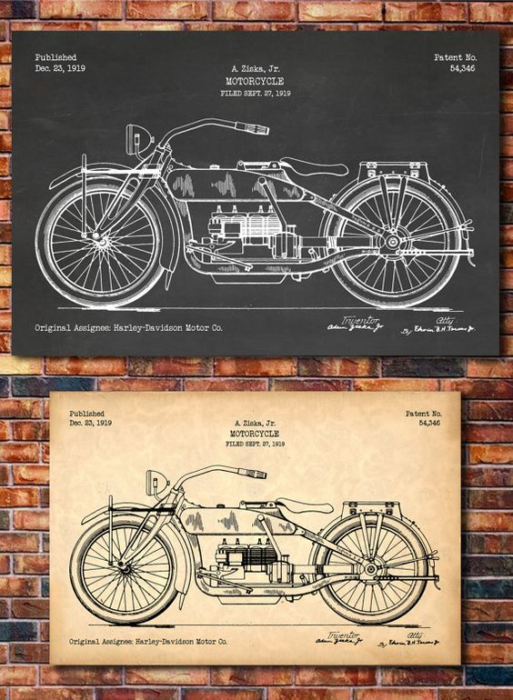 Patent of HARLEY-DAVIDSON Motorcycle 1919 by CatkumaPatentPress