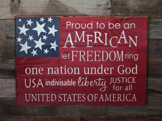 Perfect for the summer holidays!  Large Wood Sign - Proud to Be an American - USA  - Subway Sign