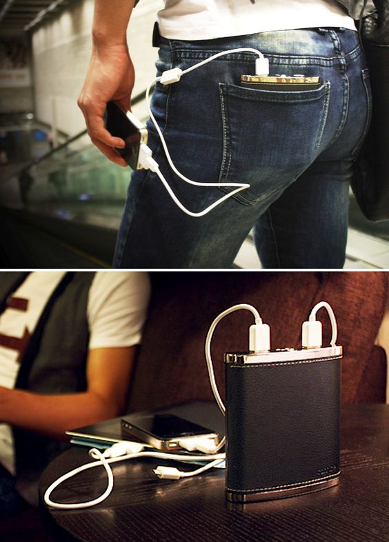 """PowerFlask  A rechargeable Lithium-Ion powered """"flask"""" that delivers enough power to recharge 3 devices at once; with two 30-pin Apple connectors, two USB ports, and two LED flashlights, it sounds amazing but where does the booze go?"""