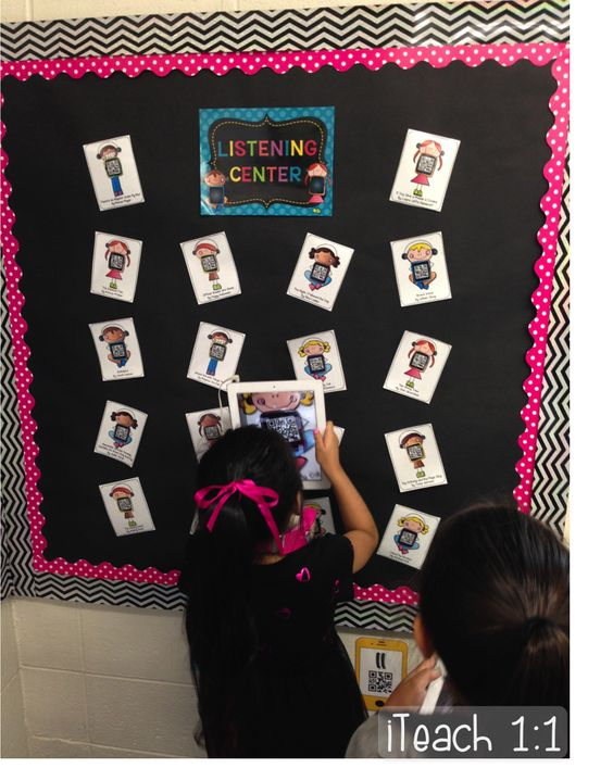QR Code Listening Center: Students come up and scan a QR code, then listen to a story at their seat