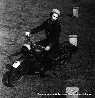 Queen Elizabeth II, riding a BSA C10. She's secretly a 1%-er.