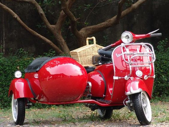 Red Vespa Scooter With Side Car - Beautiful!