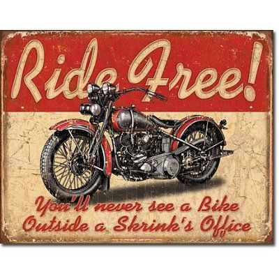 Retro Motorcycle Tin Metal Sign : Ride Free by Victory Vintage Signs,