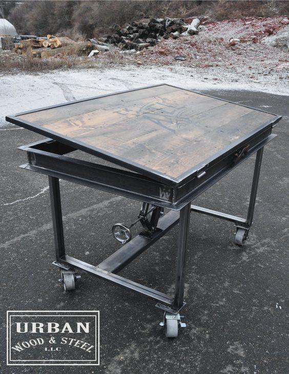 Santa please bring this for me! Industrial Adjustable Drafting Table by urbanwoodandsteel on Etsy