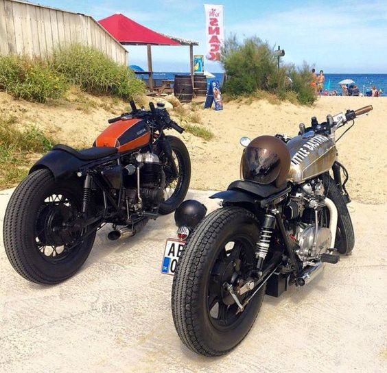 scrambler081: CAFE RACER On the beach #motorcycles #caferacer #motos |