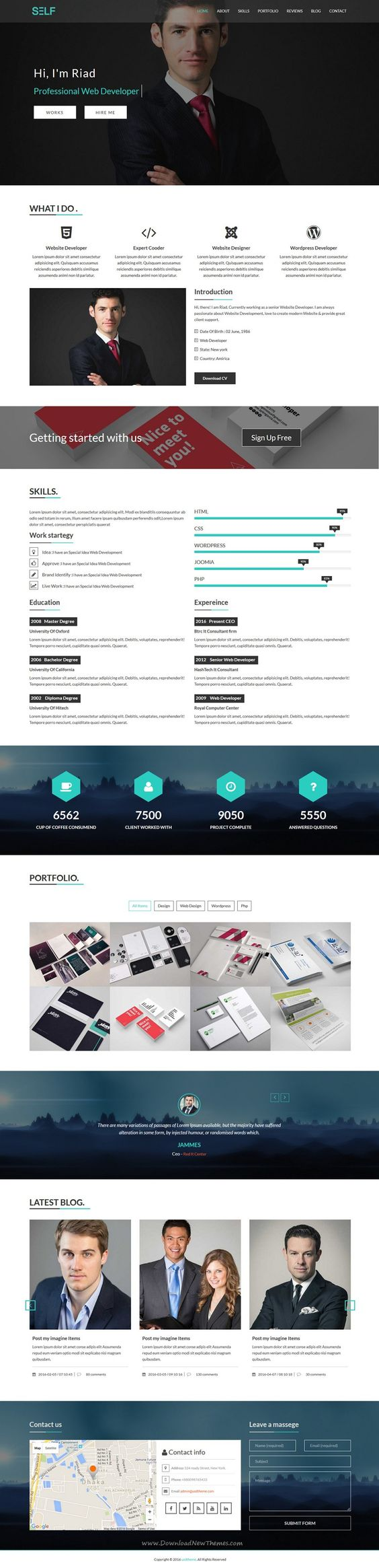 Self is a clean and elegant design bootstrap HTML #template for One Page #Portfolio and #Resume #CV template. Download Now!