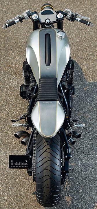 Sleek custom motorcycle - from above