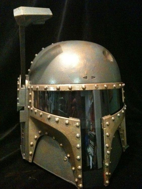 Steampunk Motorcycle Helmet, customized homemade Boba Fett helmets