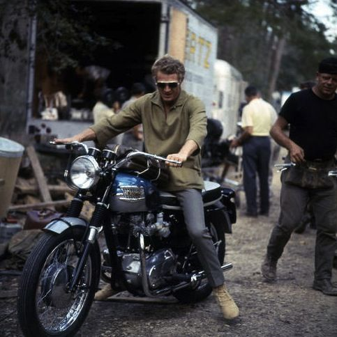 Steve McQueen on his Triumph Bonneville on the set of The Great Escape, Bavaria Film studios, South of Munich, May 1962.