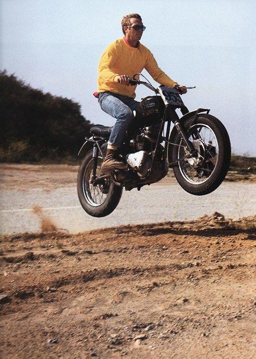 Steve McQueen on his Triumph near Mulholland Drive, Hollywood Hills, 1963.