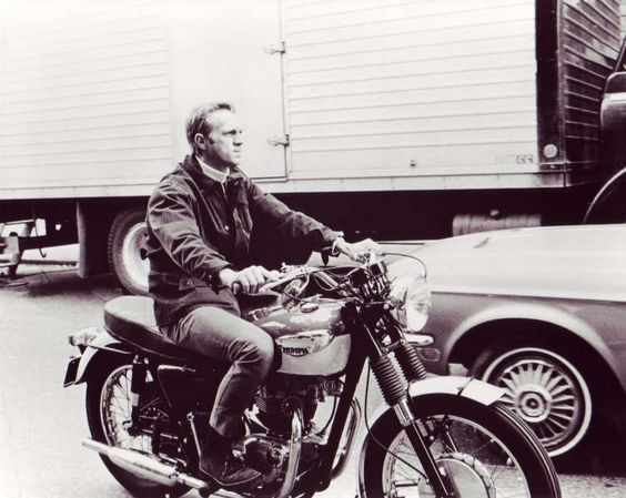 Steve McQueen on Triumph Motorcycle