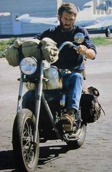 Steve McQueen riding his rat Indian chopper, the m/c he loved all the way up until the end! He named it
