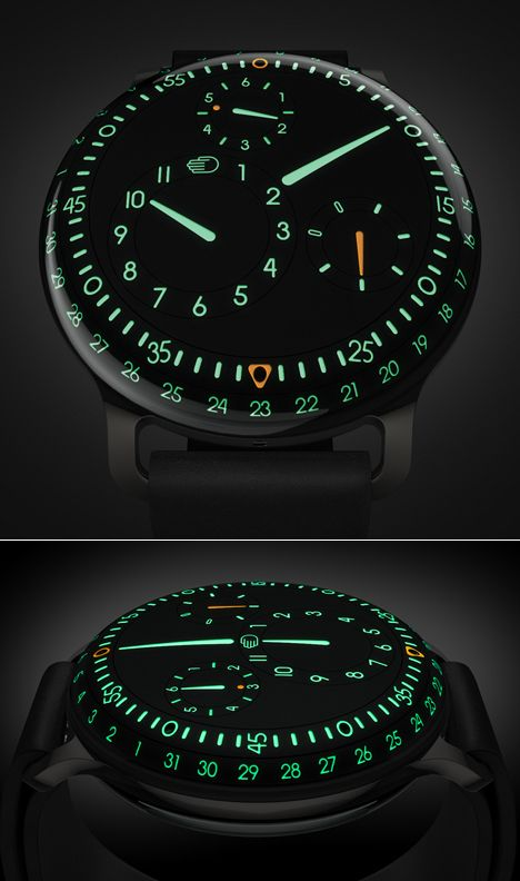 Th Ressence Type 3 wristwatch, featuring Japanese Super-LumiNova photoluminescent pigment, rotating control dials on the rear (wrist-facing) panel, and a combination of sapphire crystal and naphtha-type liquid to make the face appear three-dimensional. That'll be $30,000, for one of the 50 made.