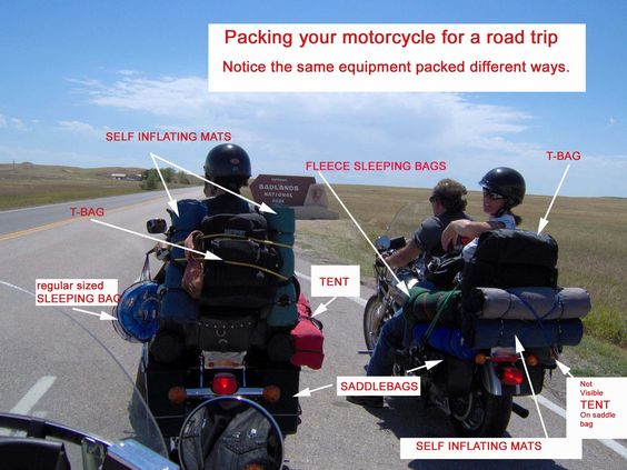 The anatomy of a packed motorcycle for your road trip