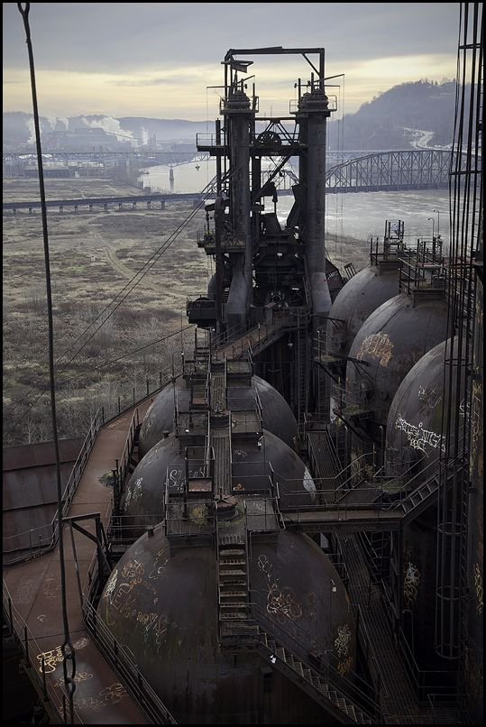 The Carrie Furnaces in Rankin, Pittsburgh, PA. were built in 1881 as part of  Steel's Homestead Works, a sprawling 400-acre complex that spanned both sides of the Monogahela river. They produced up to 1,250 tons of steel a day until 1978 when they were closed.