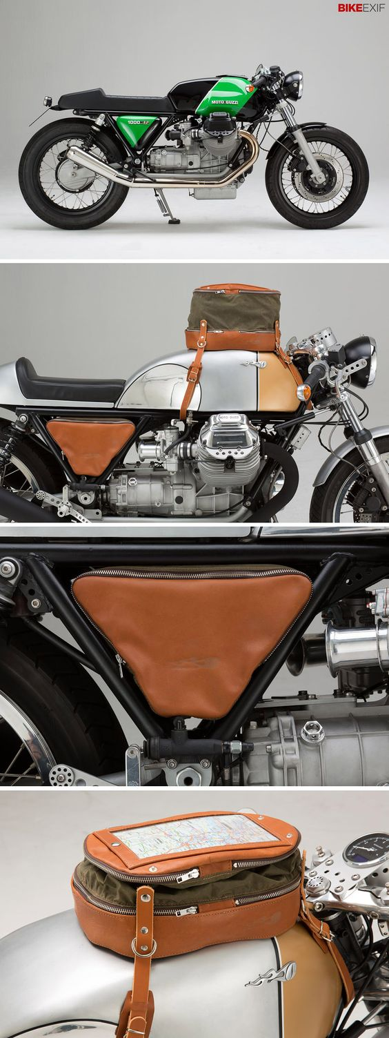 The latest from Hamburg-based Kaffeemaschine is this lovely Moto Guzzi 1000 SP—and a matching set of luggage designed for classics and cafe racers. Love it!