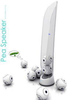The Pea Speaker system - each pod holds Bluetooth speakers that can be placed anywhere you like. Brilliant.