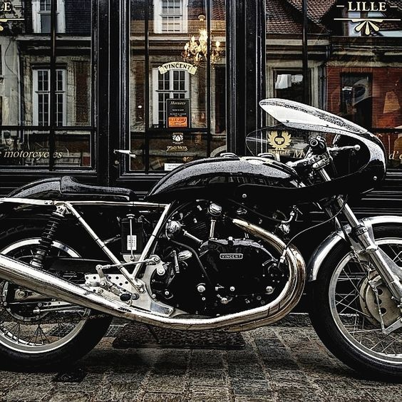 The Rare Vincent Cafe Racer which sports the most gorgeous engine ever made, the Black Shadow .. parked at the famous Legend Motors in France Egli-Vincent Cafe Racer   Banana Tank   Bikini Fairing
