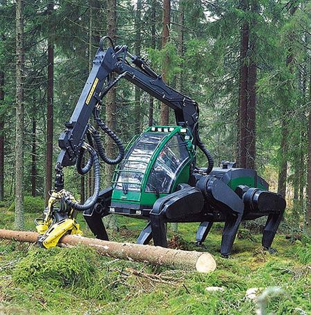 This Insect-esque Machine Prototype has strong six-legs that does less damage to the forest and can move through more difficult terrain.