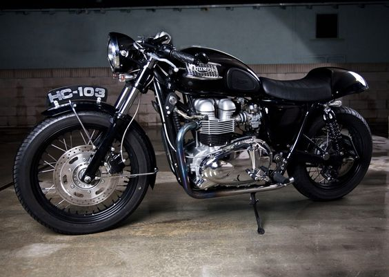 TRIUMPH BONNEVILLE T100 CAFE RACER by ROAD RACE MOTORSPORTS repinned by
