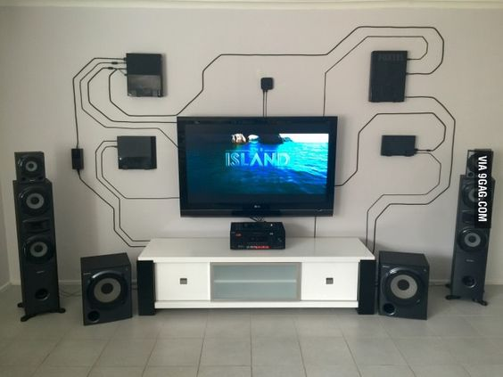 Using the wall instead of hiding everything. Wires can be cool.