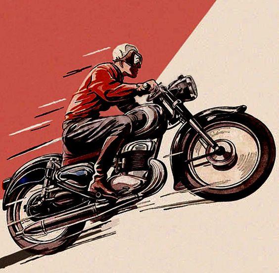 Vintage Motorcycle Drawings   Inazuma café racer: Vintage motorcycle art