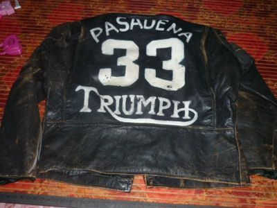 VTG CAFE RACER MOTORCYCLE JACKET PAINTED TRIUMPH photo