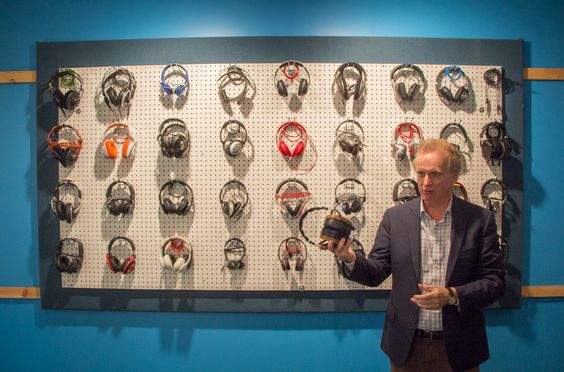 Wall of headphones at the Harman research facility in LA.