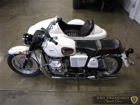 White 1972 Moto Guzzi Eldorado with sidecar