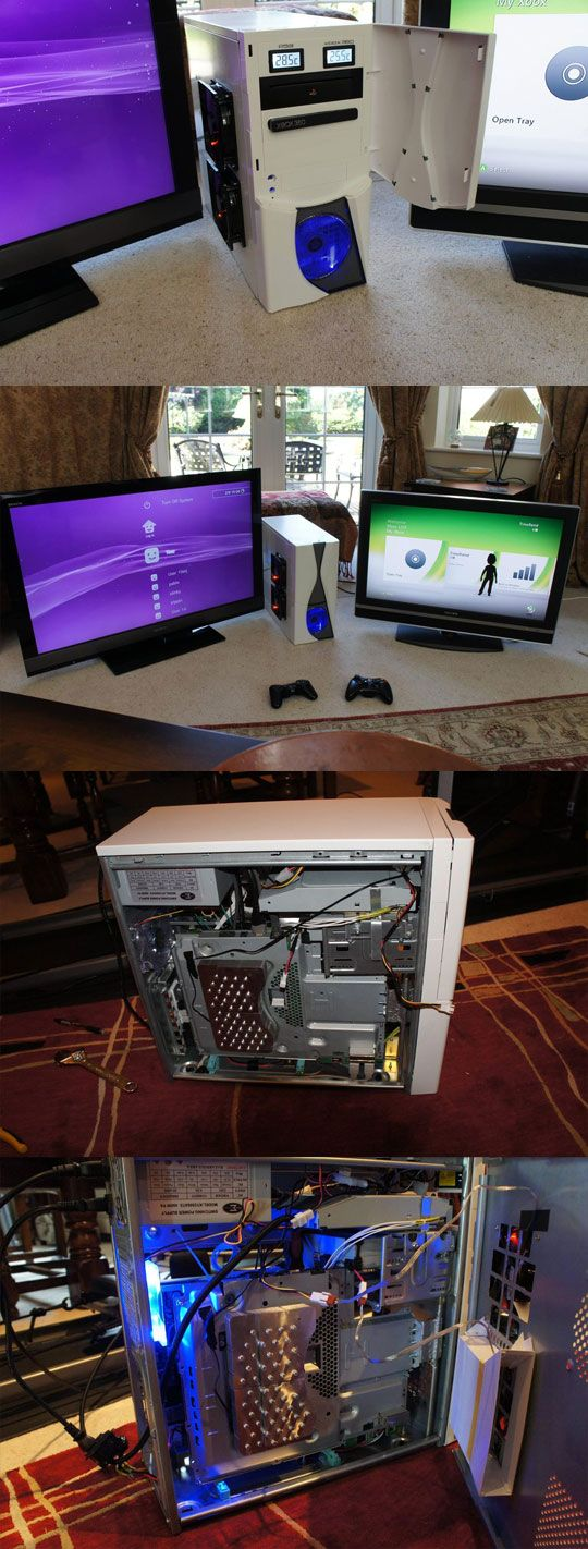 Xbox 360 and PS3 in a PC case mod