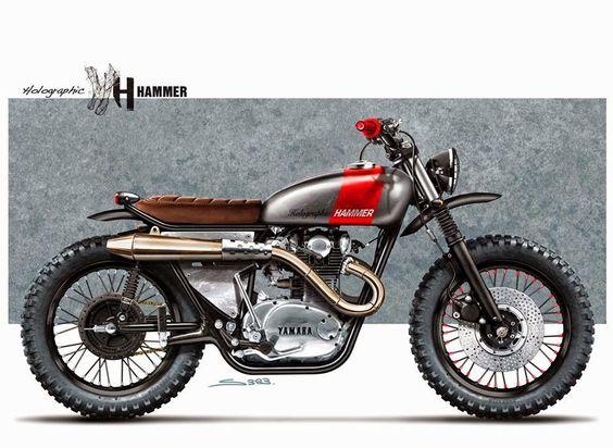 Yamaha Scrambler M0T0 Sketches:: Holographic Hammer | Pin by 8negro #motorcycles #scrambler #motos |