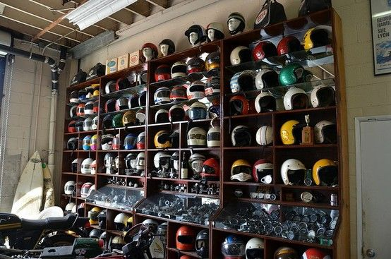 Yes, these are motorcycle helmets and not model cars. However, we love the idea of framing each piece in its own defined space in a case, as it would give each car the room to tell its own story.