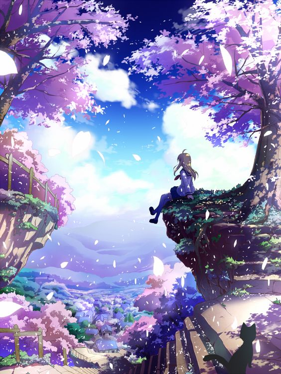 1girl blonde_hair building cat cherry_blossoms long_hair mochizuki_saku original petals scenery school_uniform sitting skirt stairs tree
