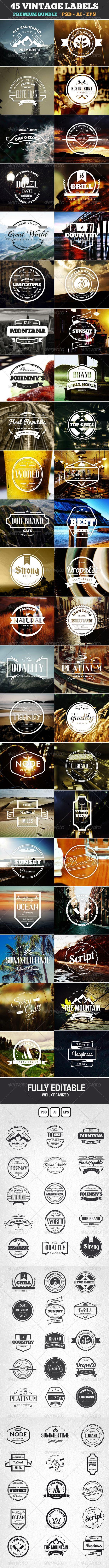 45 Vintage Labels  Badges Logos Bundle
