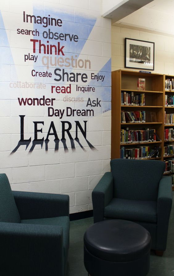 A mural in the High School Resource Centre by Alum Zachary Cartman '08 inspires students.
