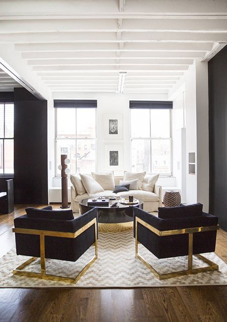 A Neutral & Glamorous Home by Nate Berkus - love the black chairs