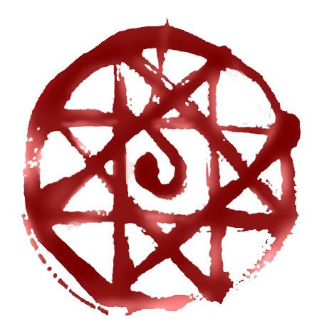Alphonse blood seal. Very complicated for an eleven(?)-year-old to draw while BLEEDING OUT OF HIS LEG STUMP.