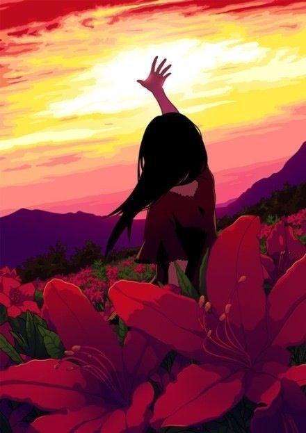 ✮ ANIME ART ✮ anime girl. . .reaching. . .sunset. . .sky. . .mountains. . .flowers. . .nature. . .beautiful. . .scenery. . .kawaii