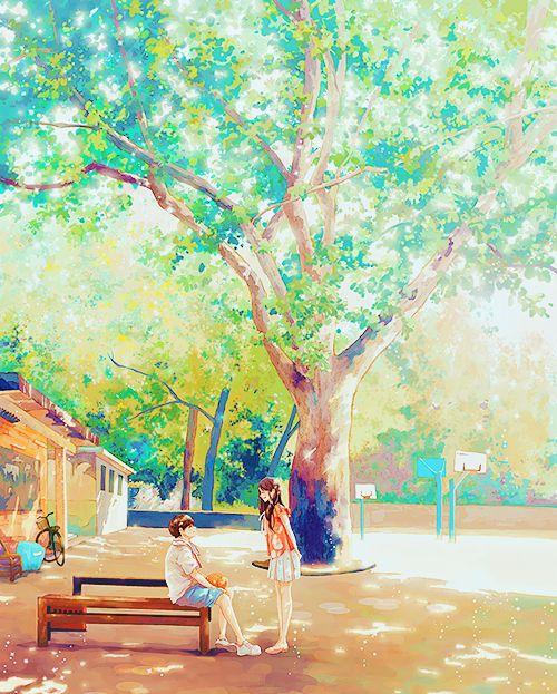 ✮ ANIME ART ✮ anime scenery. . .anime couple. . .boy and girl. . .tree. . .leaves. . .sunlight. . .nature. . .bench. . .park. . .watercolor. . .cute. . .kawaii