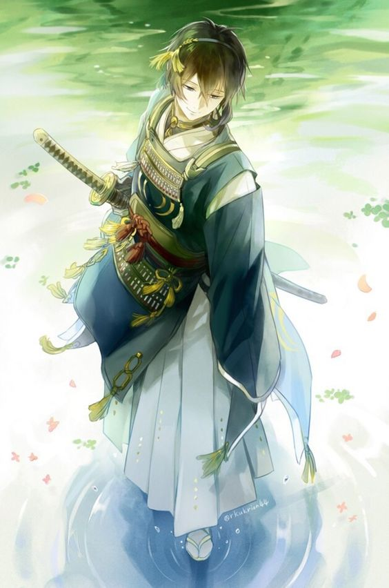 anime boy with a sword (maybe Katana?), standing in  | This picture kills me. It's  Perfectly beautiful.