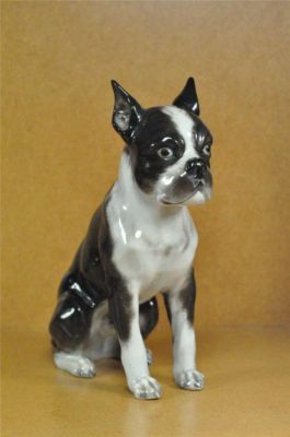 antique boston terrier figurines | RARE Rosenthal Boston Terrier Dog Figurine Heidenreich Completed