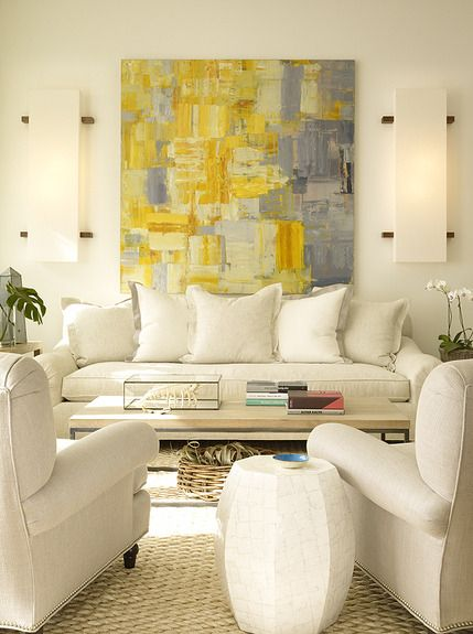 #Art Smart, love the grey and yellow color combo- a force of color in this space!