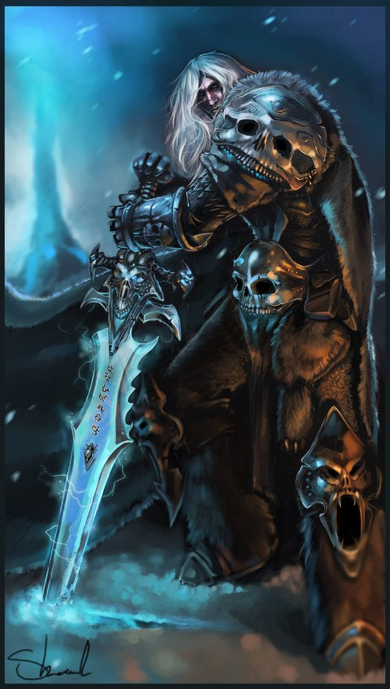 Arthas and Frostmourne by ~Kharnage on deviantART