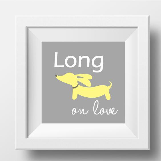Artwork | Yellow & Gray Dachshund | Long on Love