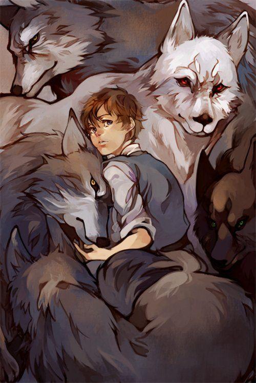 Arya Stark and direwolves.