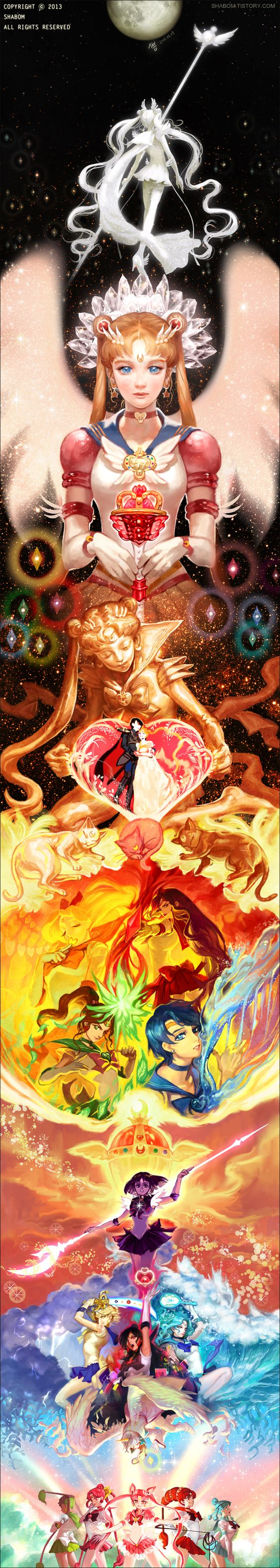 Awesome Sailor Moon art featuring Sailor Moon, the Inners, Outers, Asteroids, Mini Moon and Sailor Cosmos!
